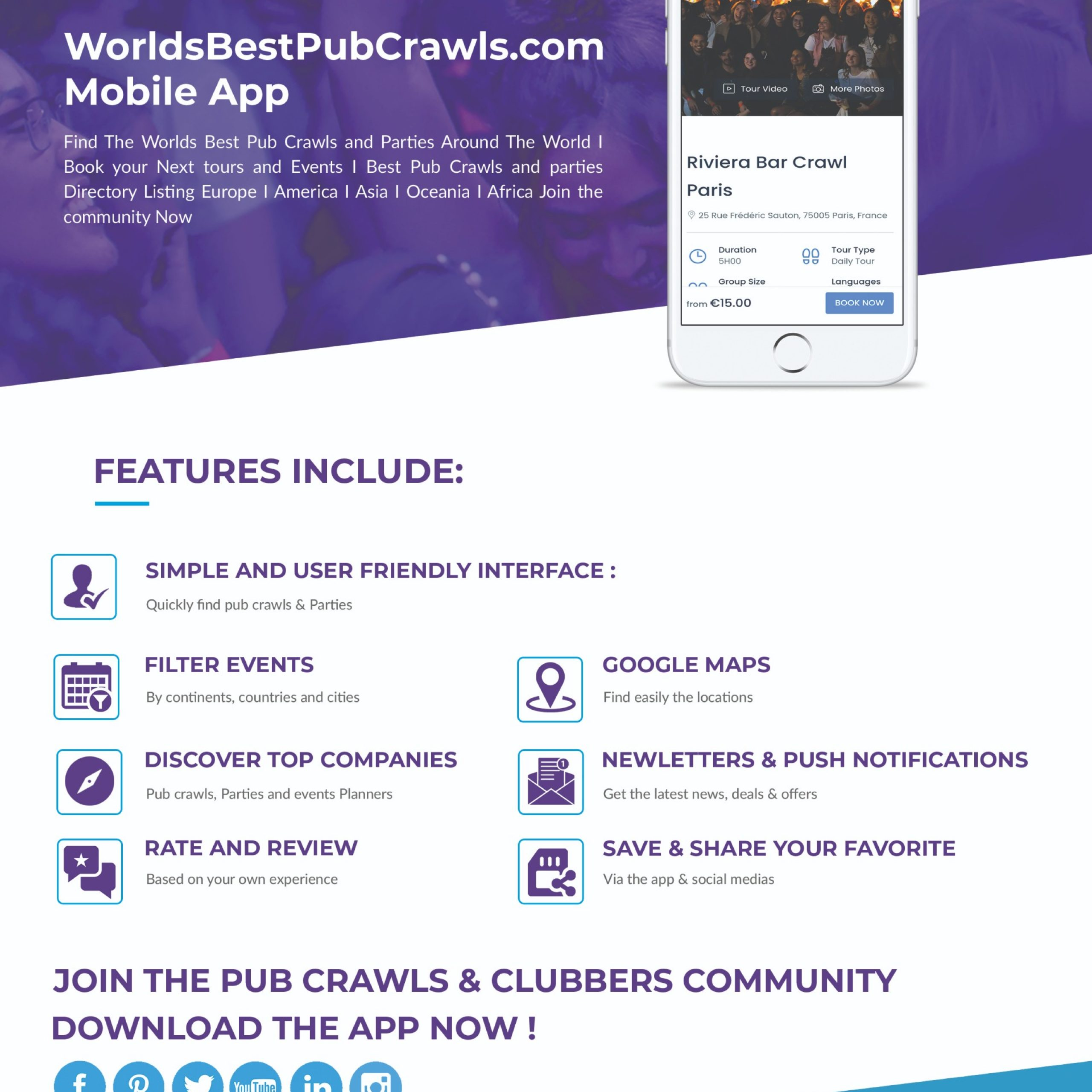 Pub crawls Mobile App
